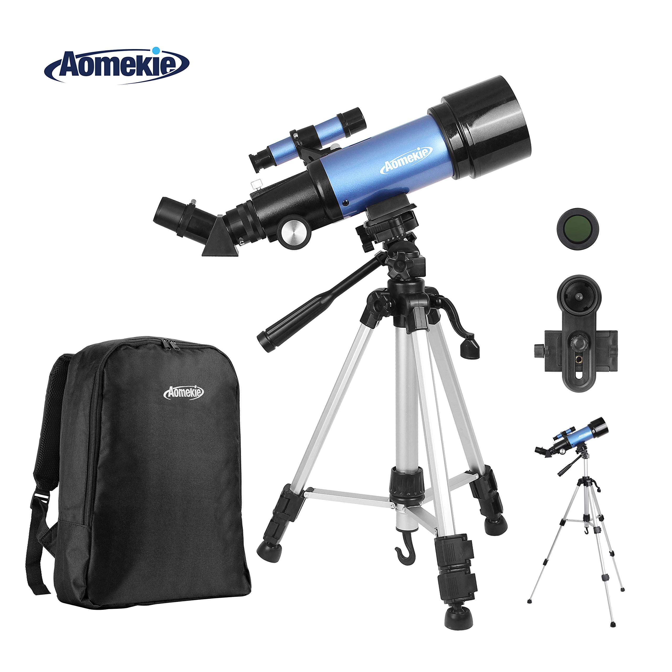 Aomekie Telescope for Adults Astronomy Beginners Kids Telescopes 70mm with 51Inch Adjustable Tripod 10X Eyepiece Phone Adapter 3X Barlow Lens and Backpack by AOMEKIE
