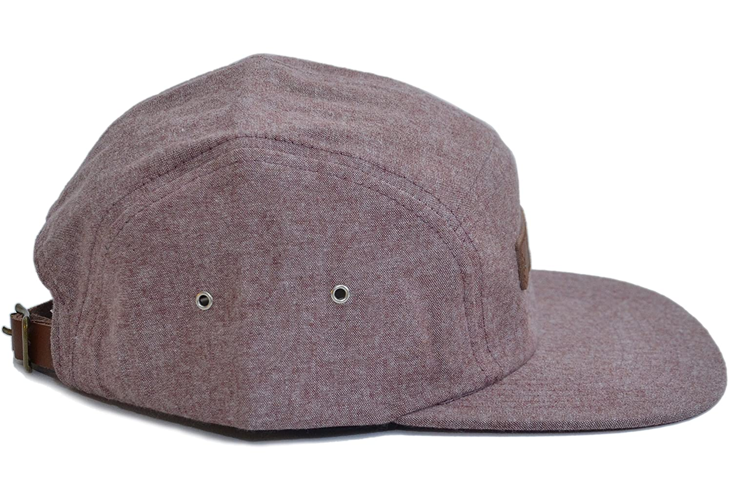 97f11038115bc Skyed Apparel Premium 5 Panel Summit Burgundy Camper Hat with Genuine  Leather Strap at Amazon Men s Clothing store