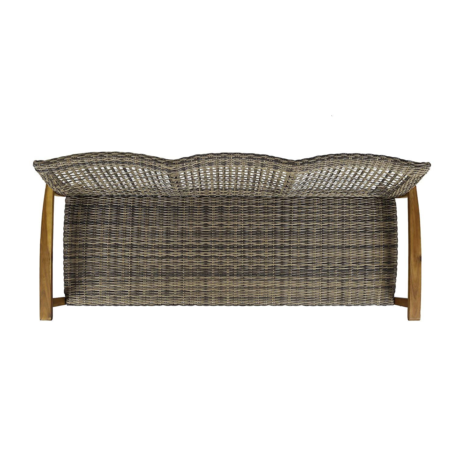 Christopher Knight Home 307797 Marcia Outdoor Wood Sofa, Wicker, 75.50 x 31.00 x 31.50, Gray, Natural Stained Finish