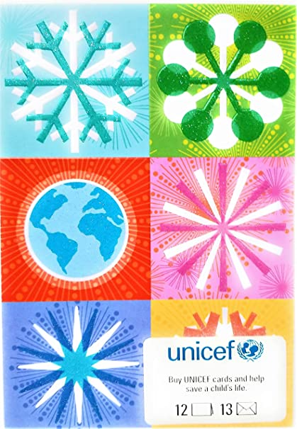 unicef holiday cards boxed set snow flakes and globe 12 cards12 envelopes - Unicef Holiday Cards