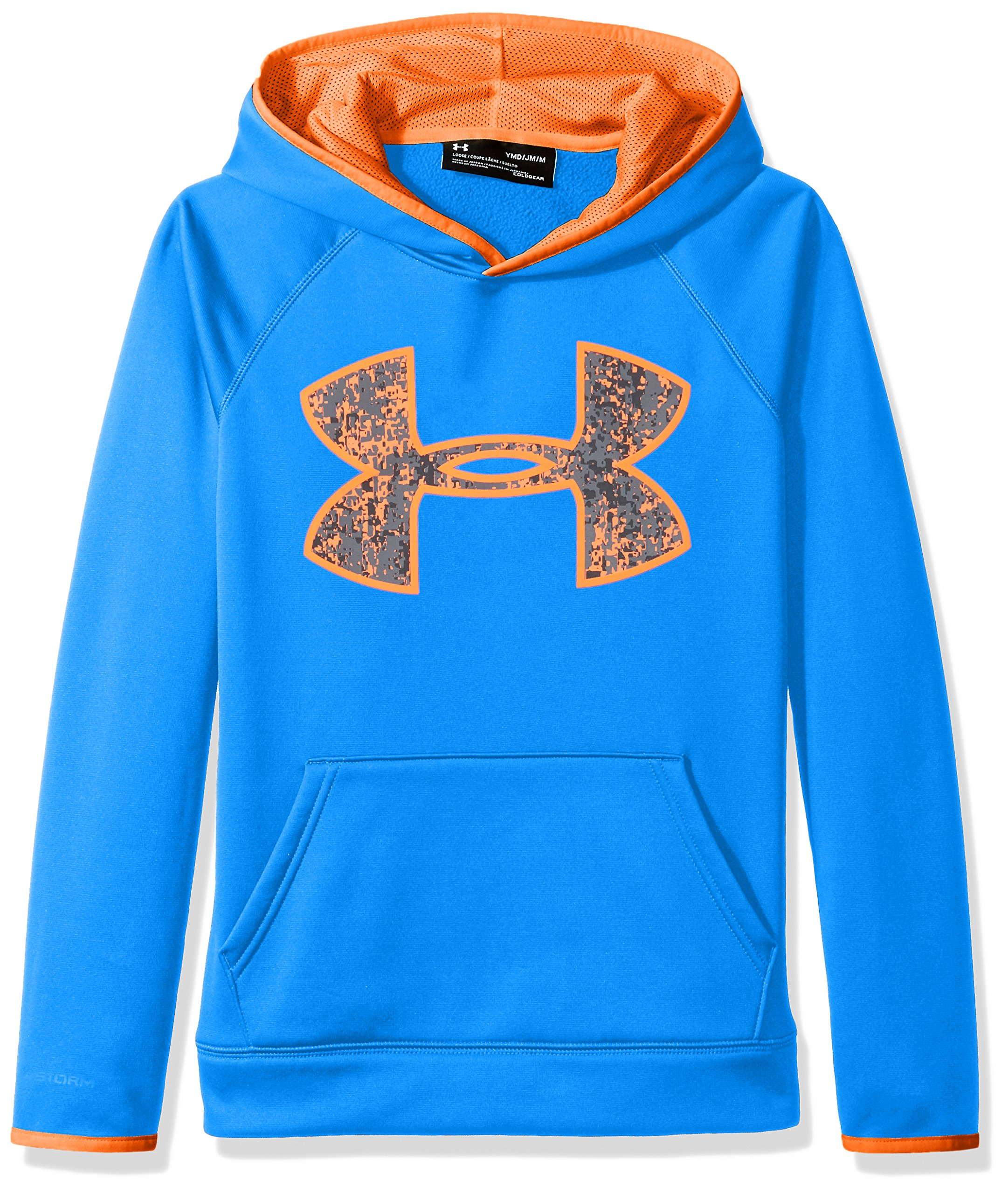 Under Armour Boys' Armour Fleece Big Logo Hoodie,Mako Blue (983)/Magma Orange, Youth X-Small