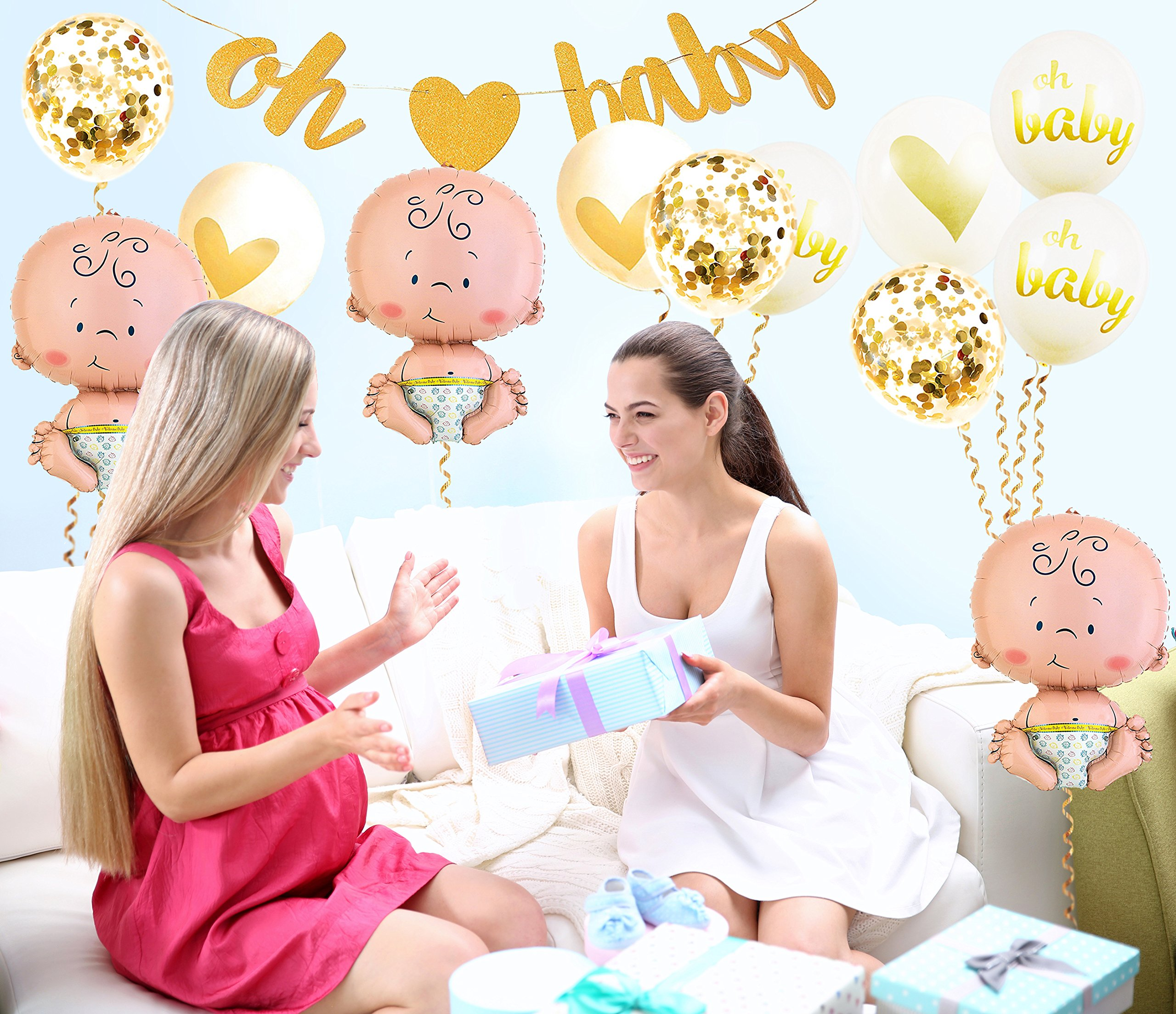 Baby Shower Party Decorations Kit Unisex, Girls and Boys | Oh Baby Banner Neutral Decor | 12 Pcs Balloon Set | Glitter Unisex Pregnancy Announcement Gender Reveal Party | 50 Pcs Premium Baby Shower Emoji Game Cards by Newborn Party (Image #6)