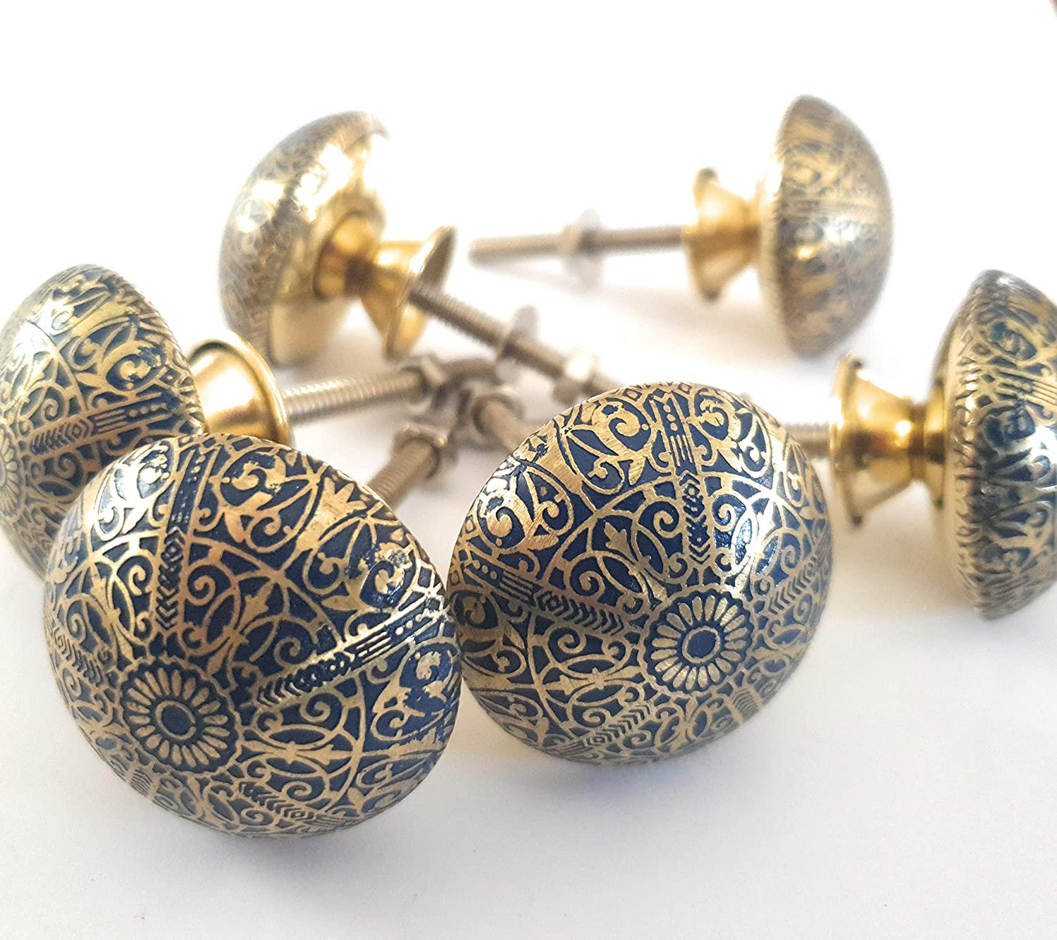 Vintage Shabby Chic 36 mm by FFF Furniture Blue Brass Patterned KNOBS - Kitchen Cabinet Pull knobs FFF Drawer Handles Cupboard Chest Set of 6 Brass Knobs by French Furniture Fittings