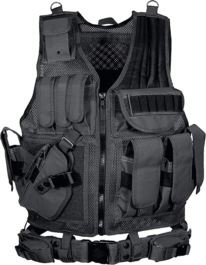 Second Chance Tactical Vest Carrier System Fixed Pockets Black Hook Loop Zipper