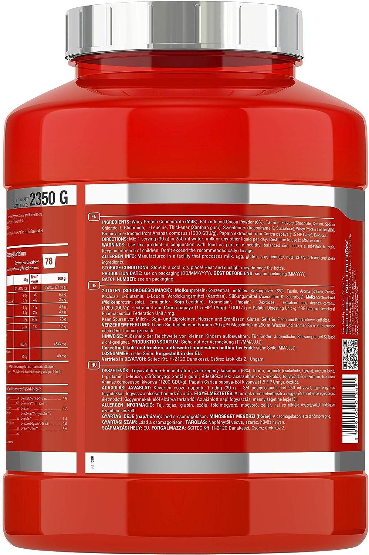 Scitec Nutrition 100% Whey Protein Professional con aminoácidos clave y enzimas digestivas adicionales, 2.35 kg, Chocolate