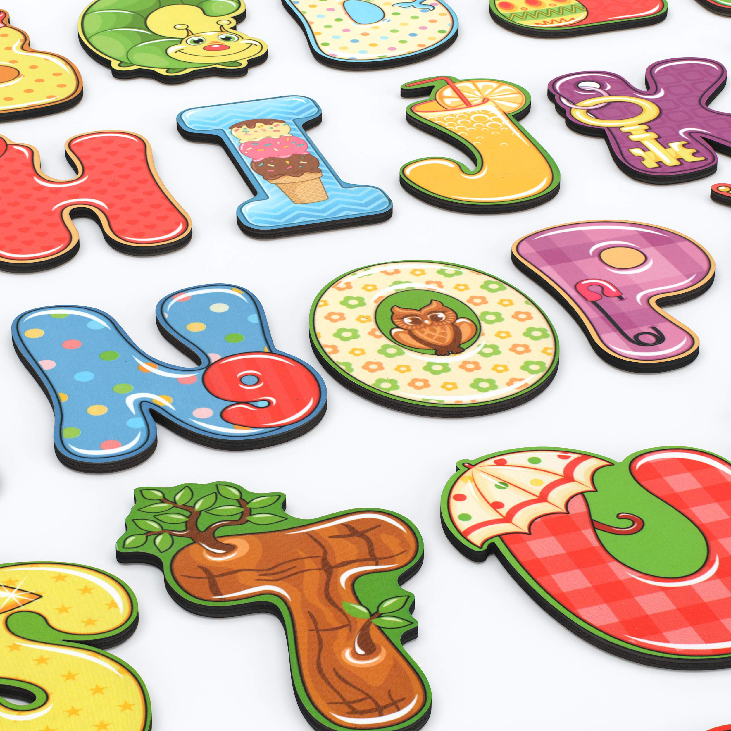 BeeZee Kid Happy ABC Letters - Wood Alphabet with Attachable Magnetic Backs - Fridge ABC Magnets for Kids - 26 Large Wood Letters - Reading Learning Toy for Toddlers and Preschoolers