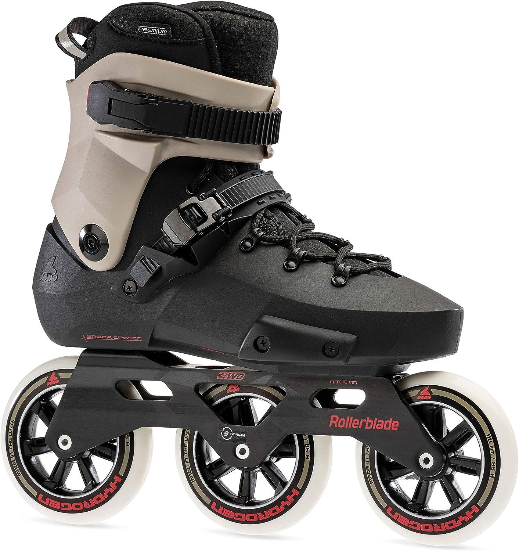 Black and Sand Premium Inline Skates Rollerblade Twister Edge 110 3WD Unisex Adult Fitness Inline Skate
