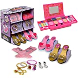 My First Princess Makeup Set WASHABLE with Mirror and Dress Up Role Play Collection - Includes 2 Shoe set and, 1 set Pink Princess Gloves and Jewelry Boutique - SAFETY TESTED- NON TOXIC