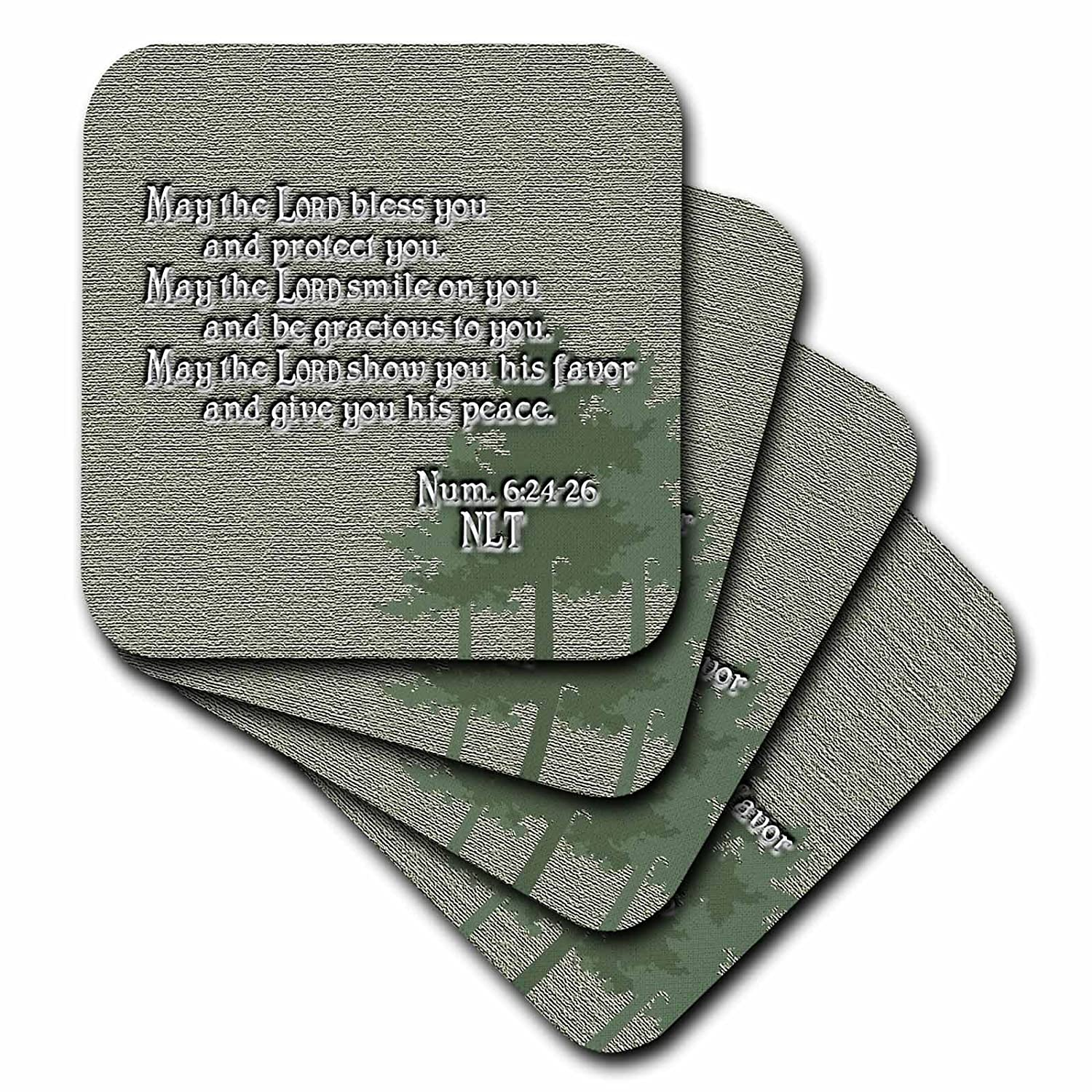 Set of 8 3dRose cst/_22340/_4 Aarons Blessing Numbers 6 24 26 Bible Verse Ceramic Tile Coasters