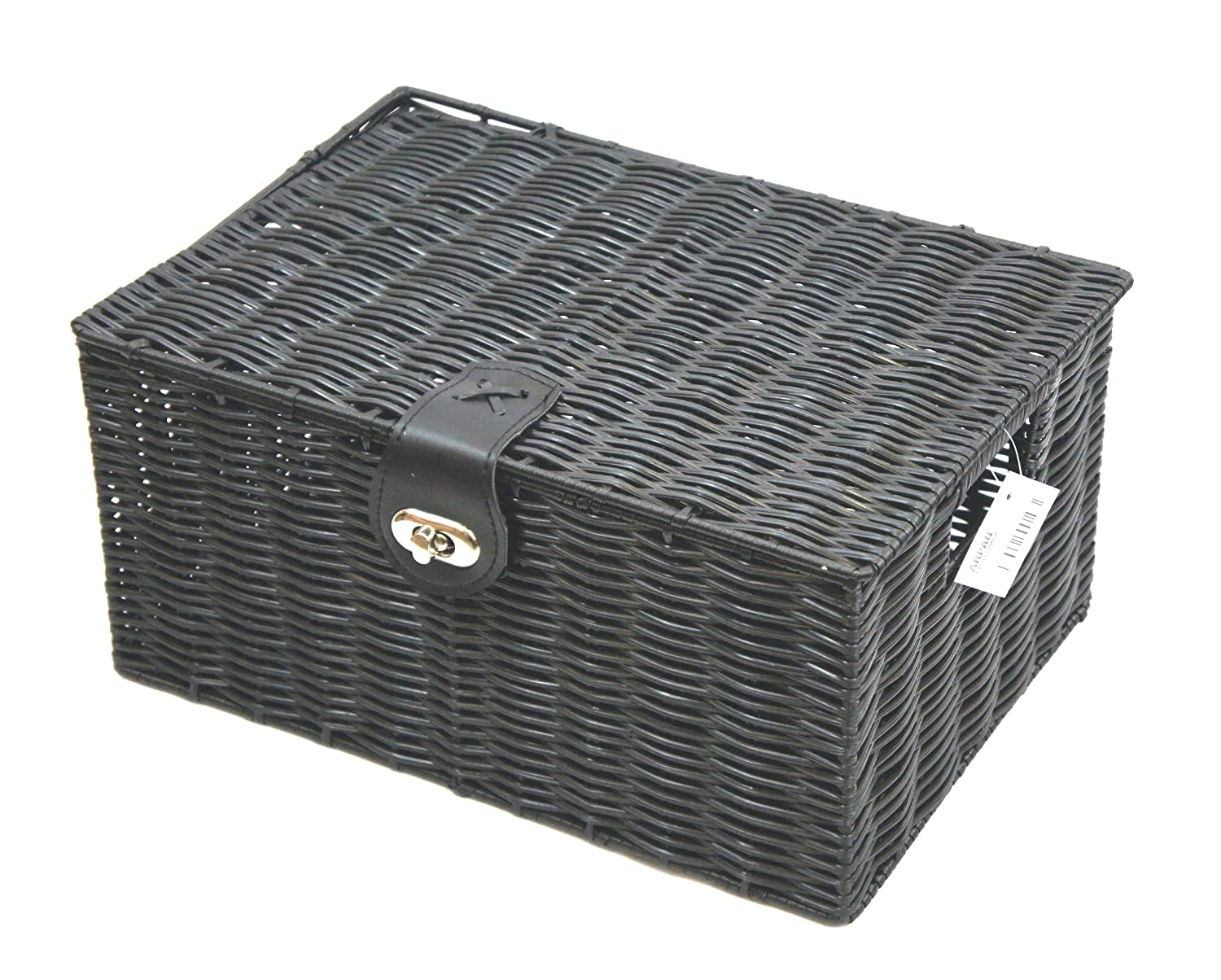 Arpan Medium Resin Woven Storage Basket Box With Lid & Lock - Black
