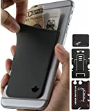 Phone Wallet - Adhesive Card Holder - Cell Phone Pouch - Stick on Lycra Pocket by Gecko - Carry Credit Cards and Cash - Canada Gray