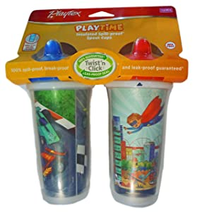 Playtex Boys Sipsters Stage 3 Insulated Spout Sippy Cups - 9 Ounce - 2 Pack (Color and Design May Vary)