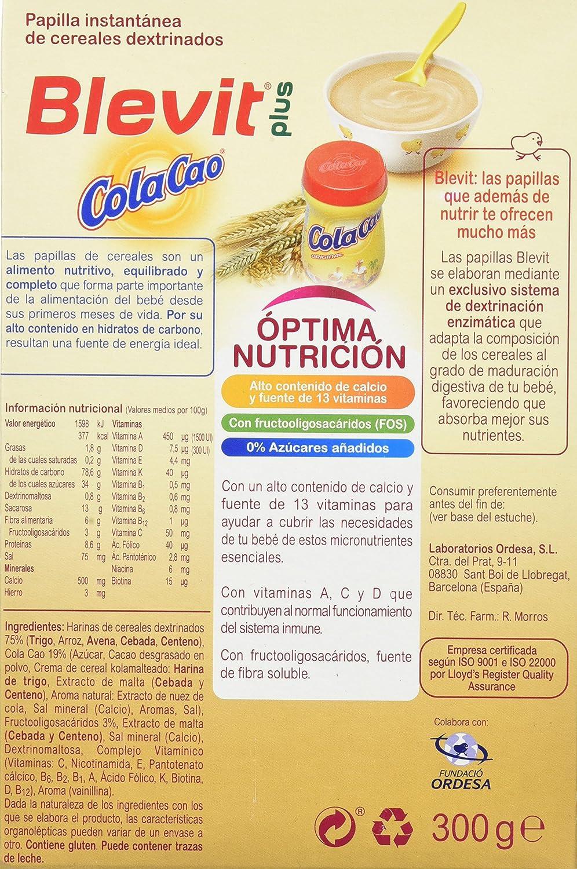 Blevit Plus Cola Cao Cereales - 300 gr: Amazon.es: Alimentación y bebidas