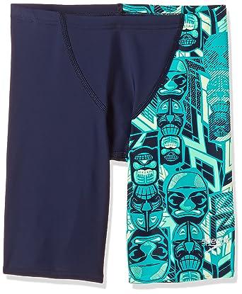 a31a597a41 Speedo Boys Swimwear Tri Bold Allover V Cut Panel Jammer (808686B518_Navy,  Jade, Green