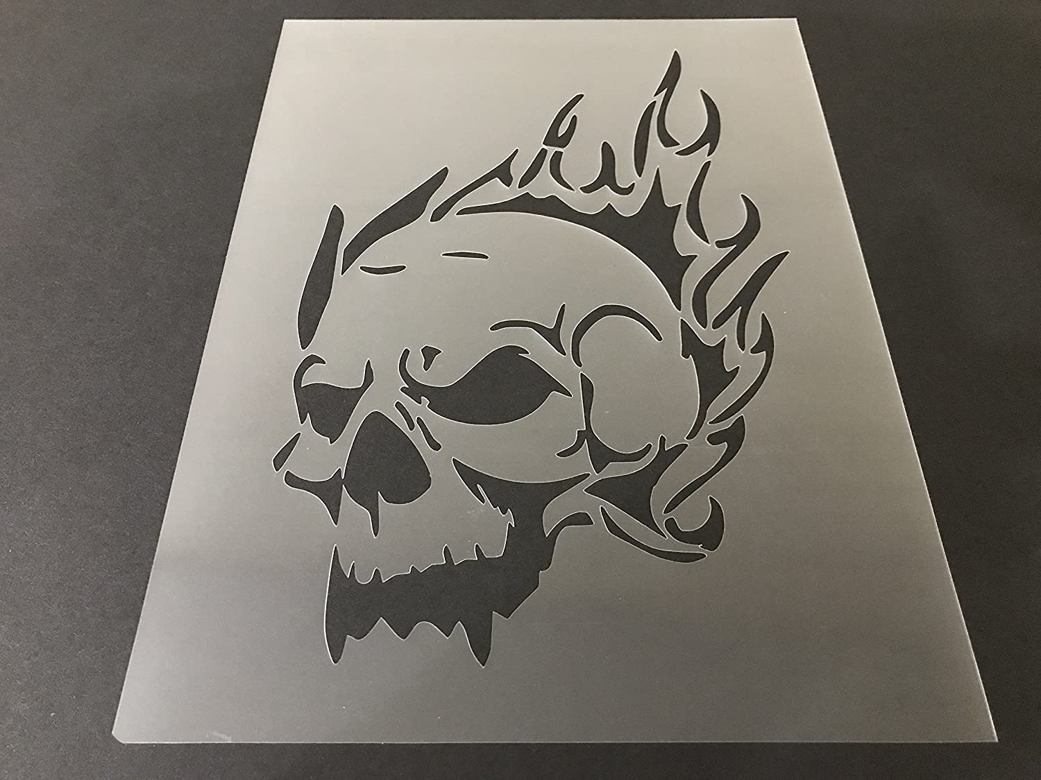 Skull Stencil #9 Reusable 10 mil Thick 7in x 9in sheet