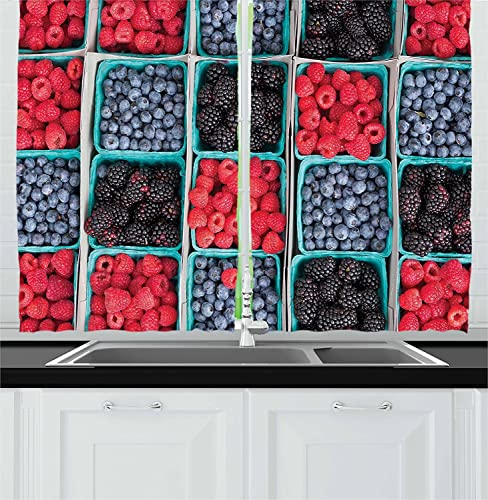 Ambesonne Fruits Decor Collection, Rows of Groceries Strawberries Raspberries and Berries Baskets at Local Farmers Market Image, Window Treatments for Kitchen Curtains 2 Panels, 55 X 39 Inches, Red
