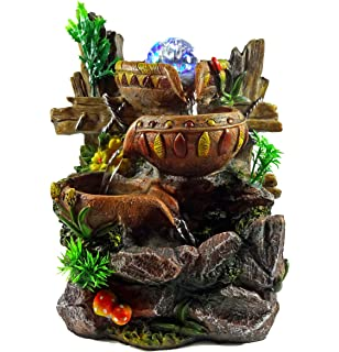 Waterfalls Indoor Fountains Amazon tabletop fountain indoor fountain waterfall three birds indoor tabletop fountain cascading water buckets on rocks workwithnaturefo