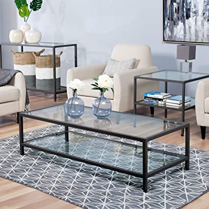 Studio Designs Home 71000.0 Camber Rectangle Coffee Table In Pewter With  Clear Glass