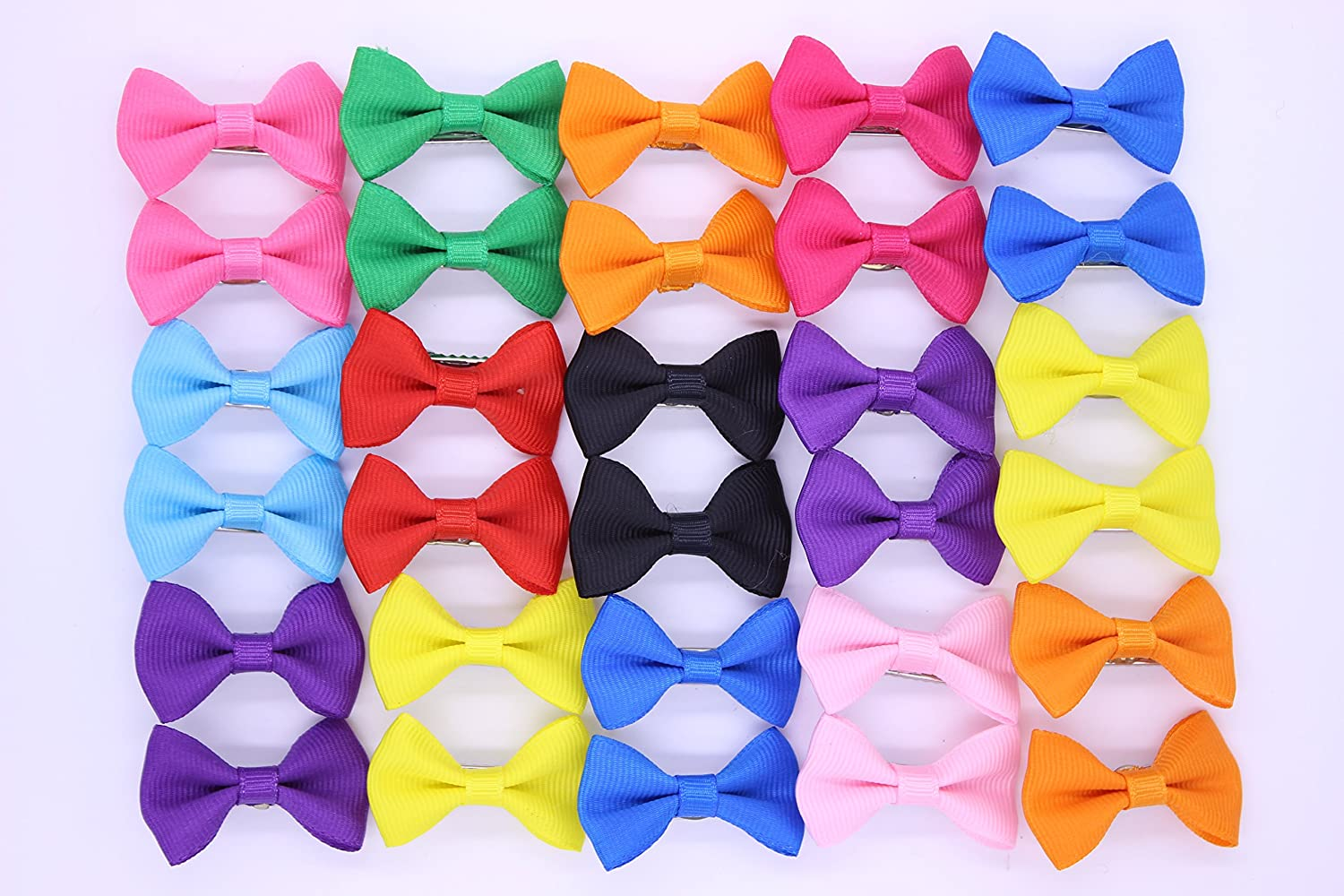 New Dog 10pairs/20pcs Hair Clips Bowknot Small Pet Grooming Products Colors Solid Mix Pet Dog Pattern Hair Bows Accessories