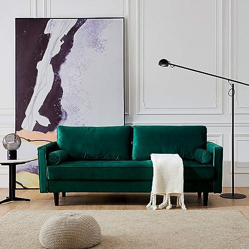 Mid-Century Modern Upholstered Fabric Sofa Velvet Sofa