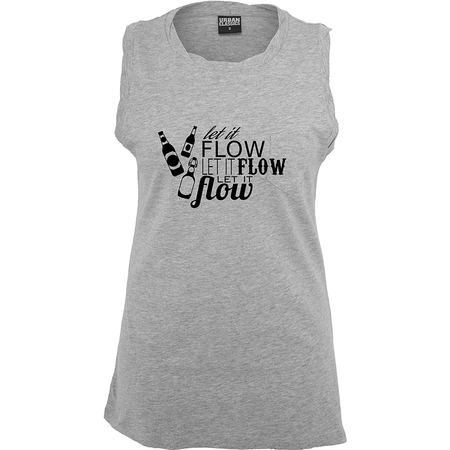 Après Ski - Let it flow Bier - ärmelloses Damen T-Shirt mit Brusttasche