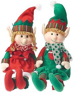 prextex christmas posable plush elf adorable holiday plush characters 18 boy and girl plush elves - Christmas Stuffed Animals