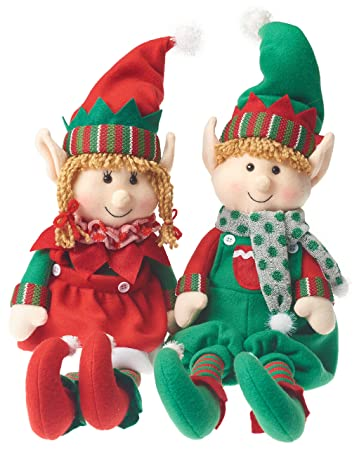 amazoncom prextex christmas posable plush elf adorable holiday plush characters 18 boy and girl plush elves toys games
