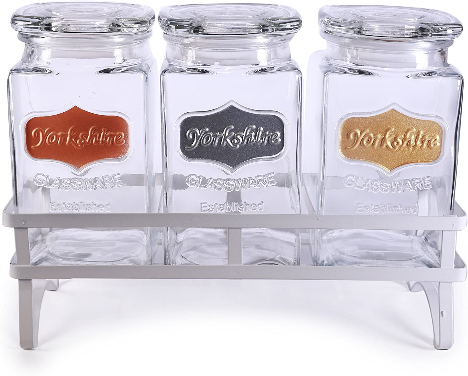 Circleware Yorkshire Canister Jar with Glass Lid Metallic Panel & White Stand, Set of 3 Kitchen Glassware Food Preserving for Coffee Sugar, Tea, Spices, Cereal, 42 oz, Gold, Copper, Silver