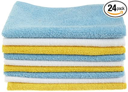 AmazonBasics CW190423 Blue and Yellow 24-Pack Microfiber Cleaning Cloth,  24-Pack