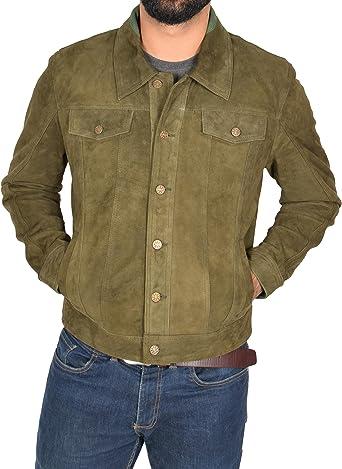 Hombre Peso Ligero Suede de Cabra Chaqueta del Camionero Clásico Occidental Camisa Daryl Verde: Amazon.es: Ropa y accesorios