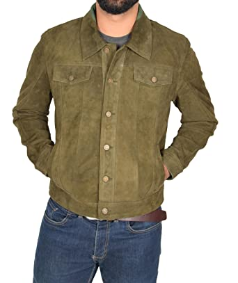887cdefc8 Mens Lightweight Goat Suede Trucker Jacket Classic Western Shirt ...