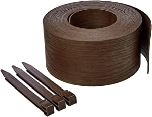 AmazonBasics Landscape Edging Coil with Stakes - 5 Inch, Brown