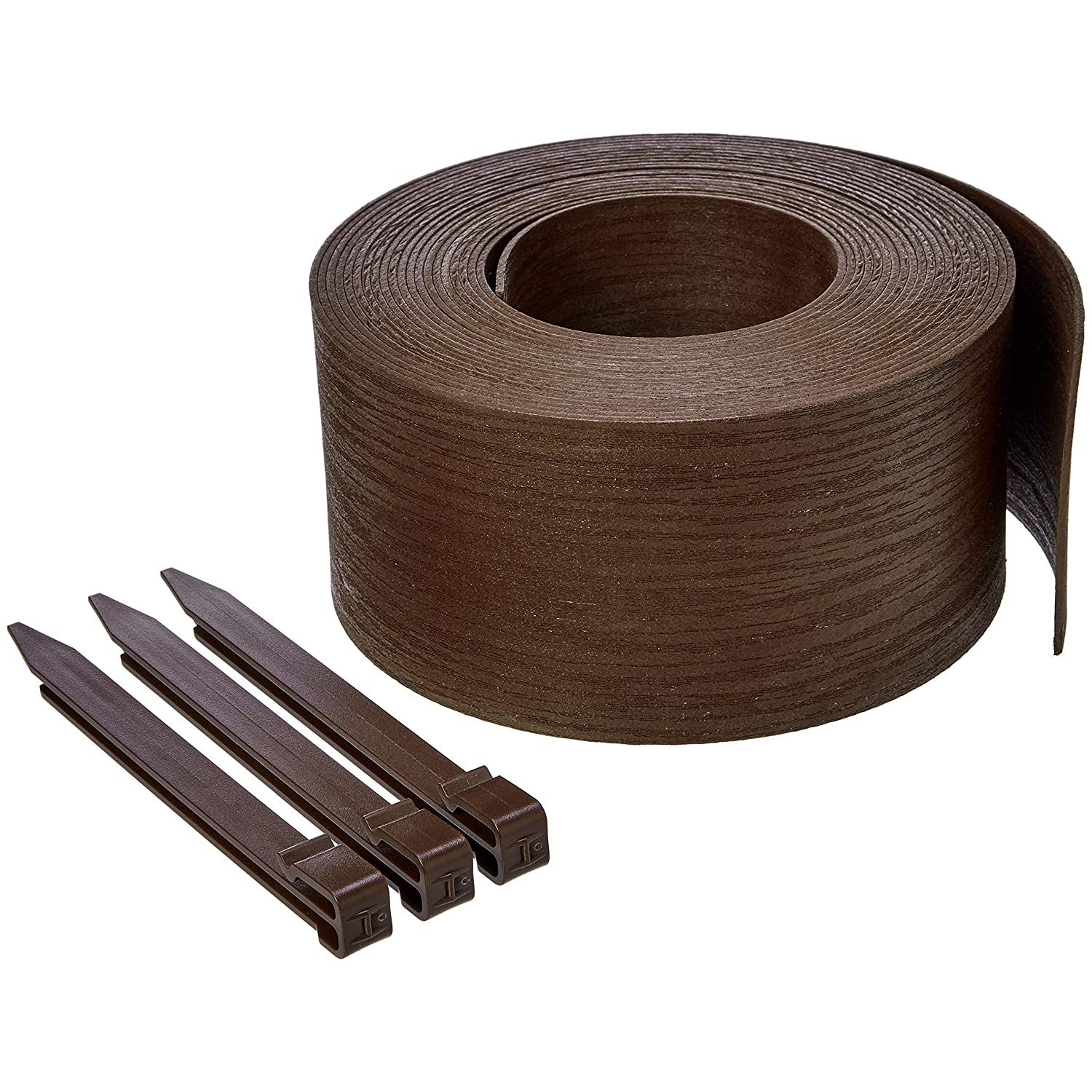 AmazonBasics Landscape Edging Coil with Stakes – 5 Inch, Brown