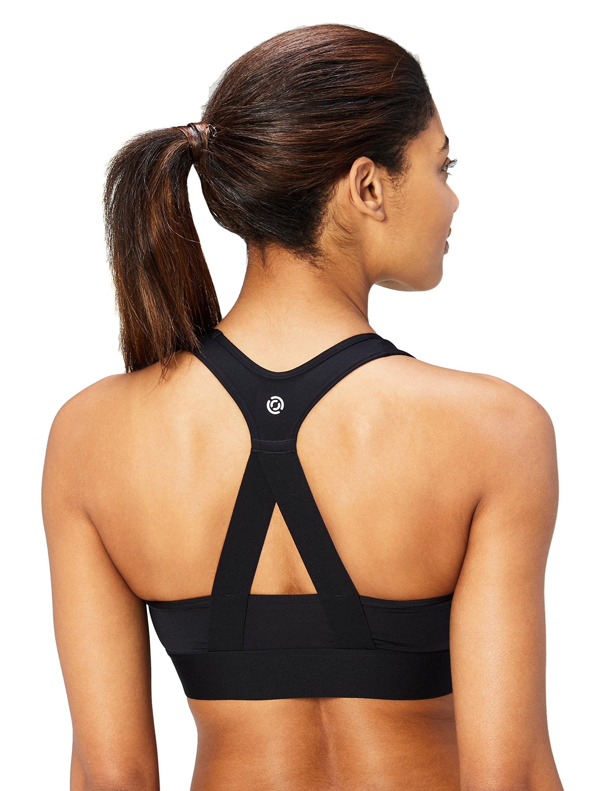 Amazon Brand - Core 10 Women's Cross Back Sports Bra with Removable cups, black, Small