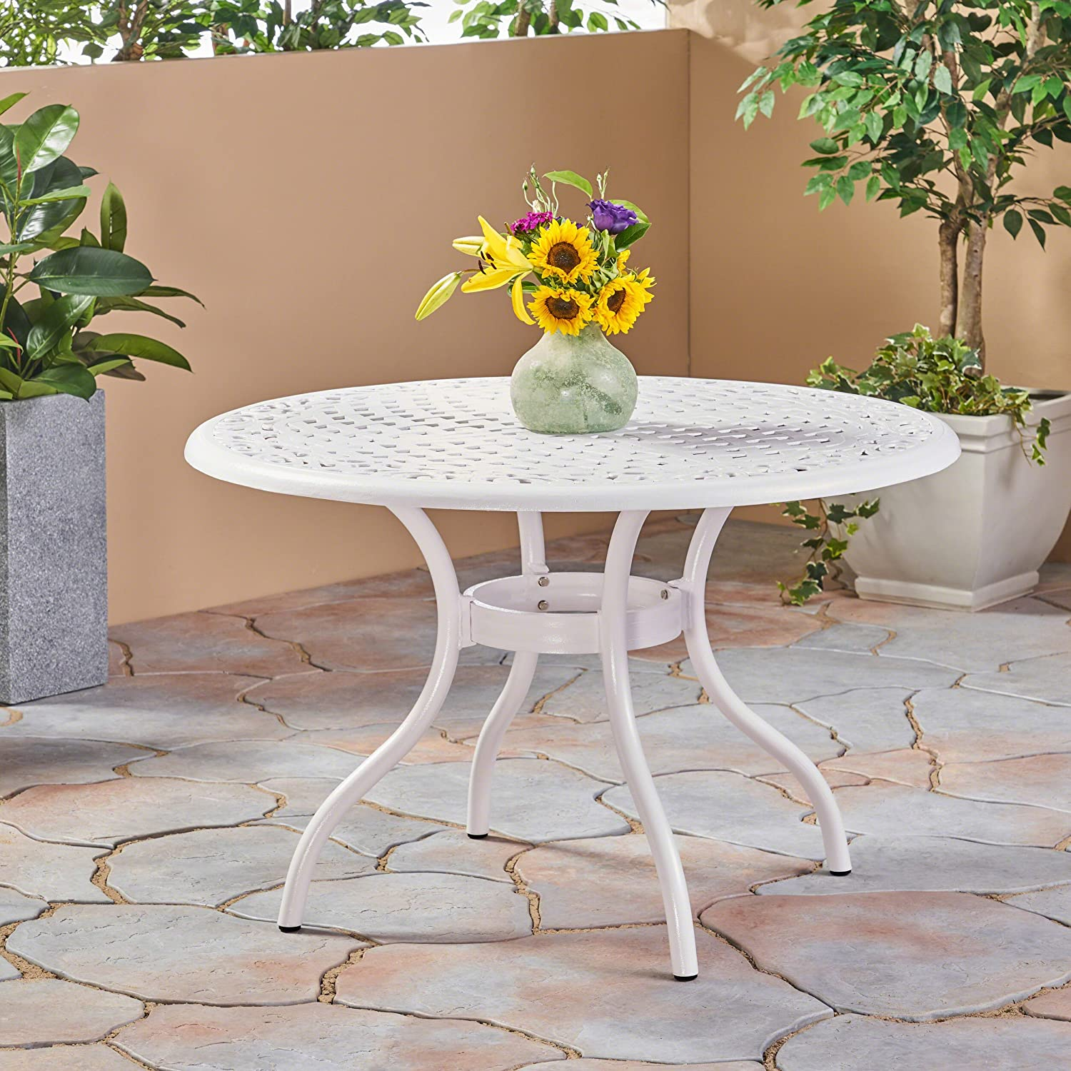 Christopher Knight Home 305134 Simon Outdoor Aluminum Round Dining Table, White
