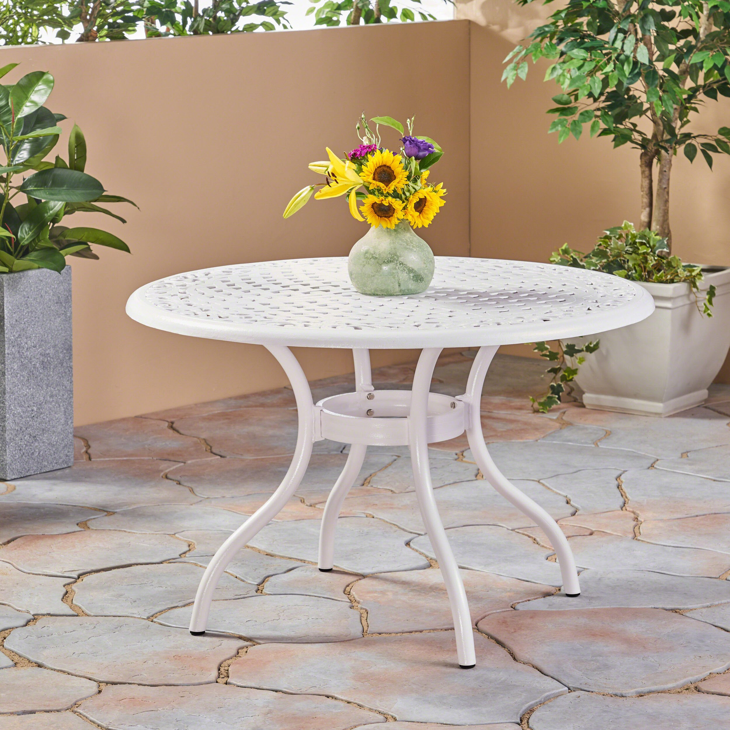 Great Deal Furniture 305134 Simon Outdoor Aluminum Round Dining Table, White