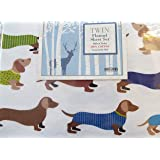 Homegrown Colorful Dachshunds Twin Flannel Sheet Set