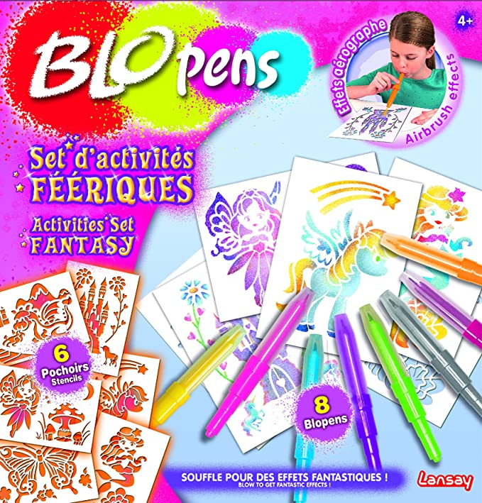 8 Feutres Magiques Stylos Aérographe 6 Pochoirs Set d/'Activités Féérique Blopens