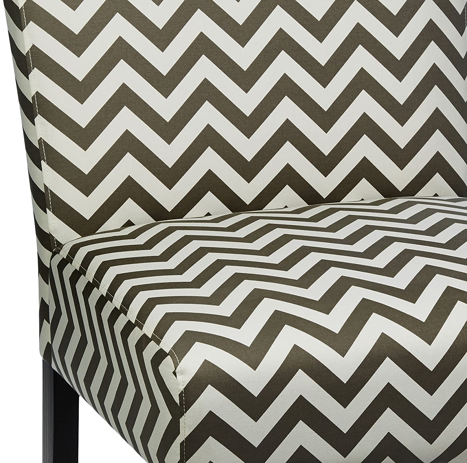 Red Hook Furniture Giada Contemporary Upholstered Armless Accent Chair – Grey Chevron