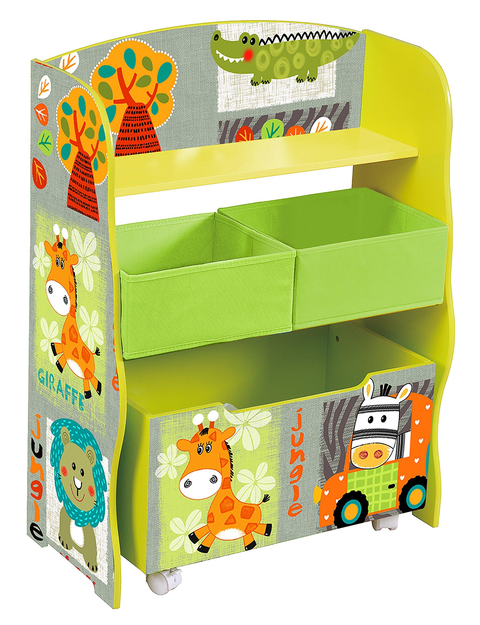Liberty House Toys TF4821 Storage Fabric Bins Unit, Green, Orange, Black, White, Brown, Blue