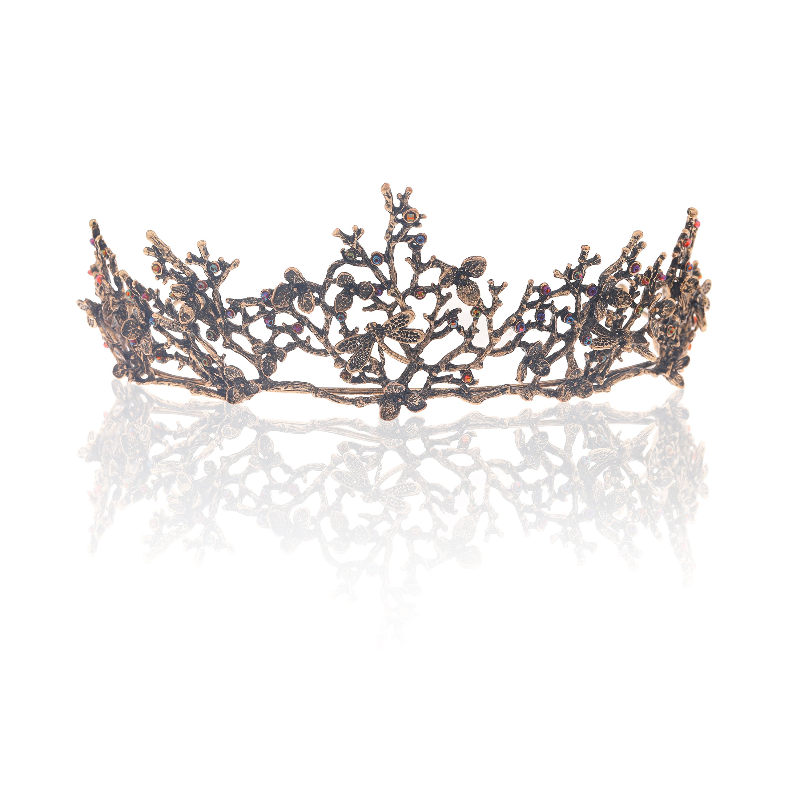 Edary Bridal Wedding Queen Crowns and Tiaras Baroque Black Flower Hair Accessories for Women by Edary (Image #4)