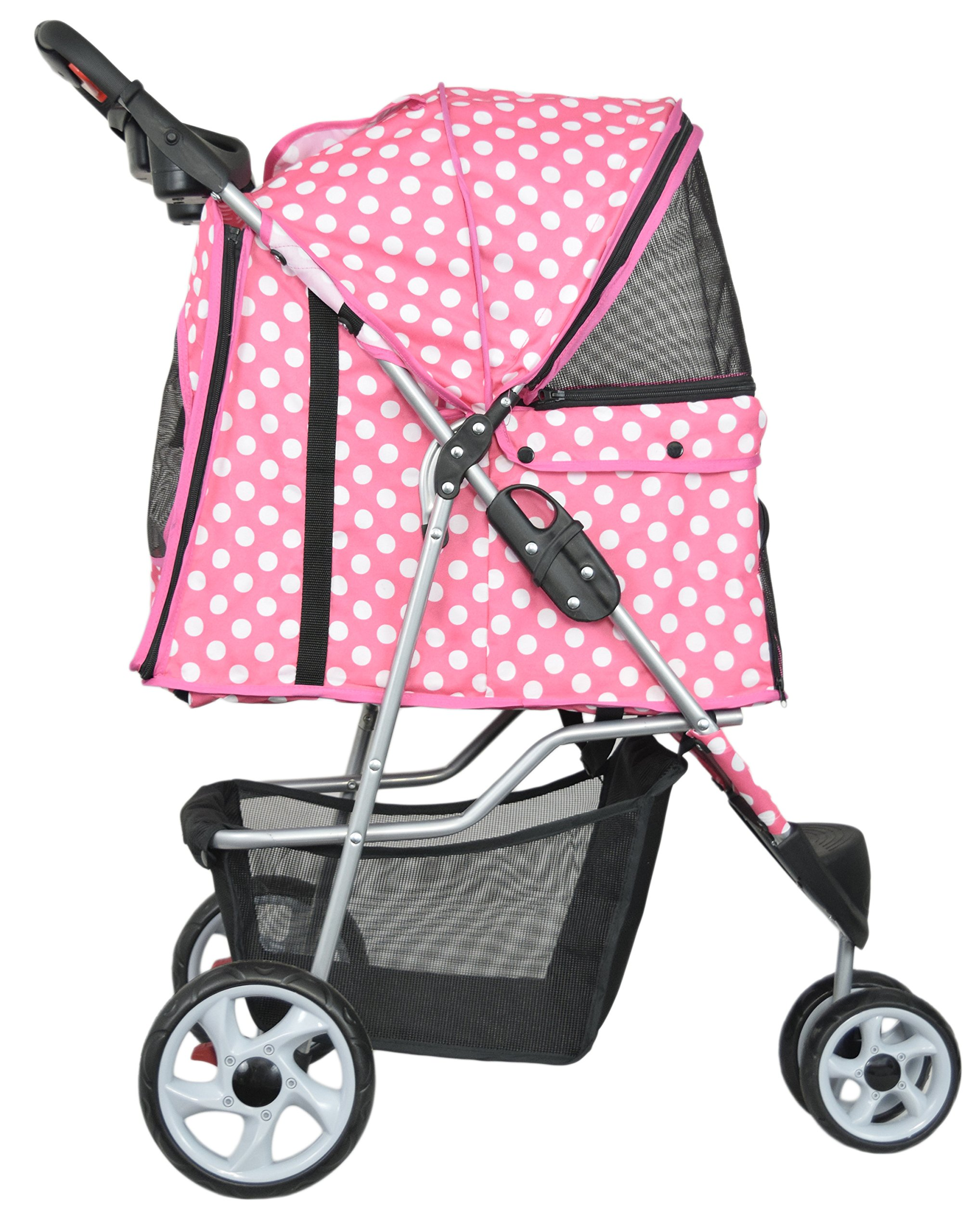 VIVO Three Wheel Pet Stroller, for Cat, Dog and More, Foldable Carrier Strolling Cart, Multiple Colors (Pink & White Polka Dot) by VIVO (Image #3)