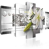murando a-C-0077-b-m astratto fiori argento grigio bianco verde