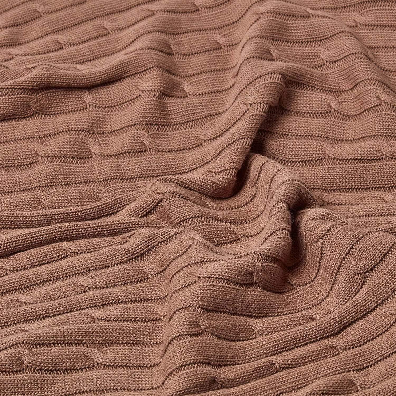 tr/ès /épaisse et Confortable en Pur Coton de 150 x 200 cm Homescapes Couverture Bleu Faite Main