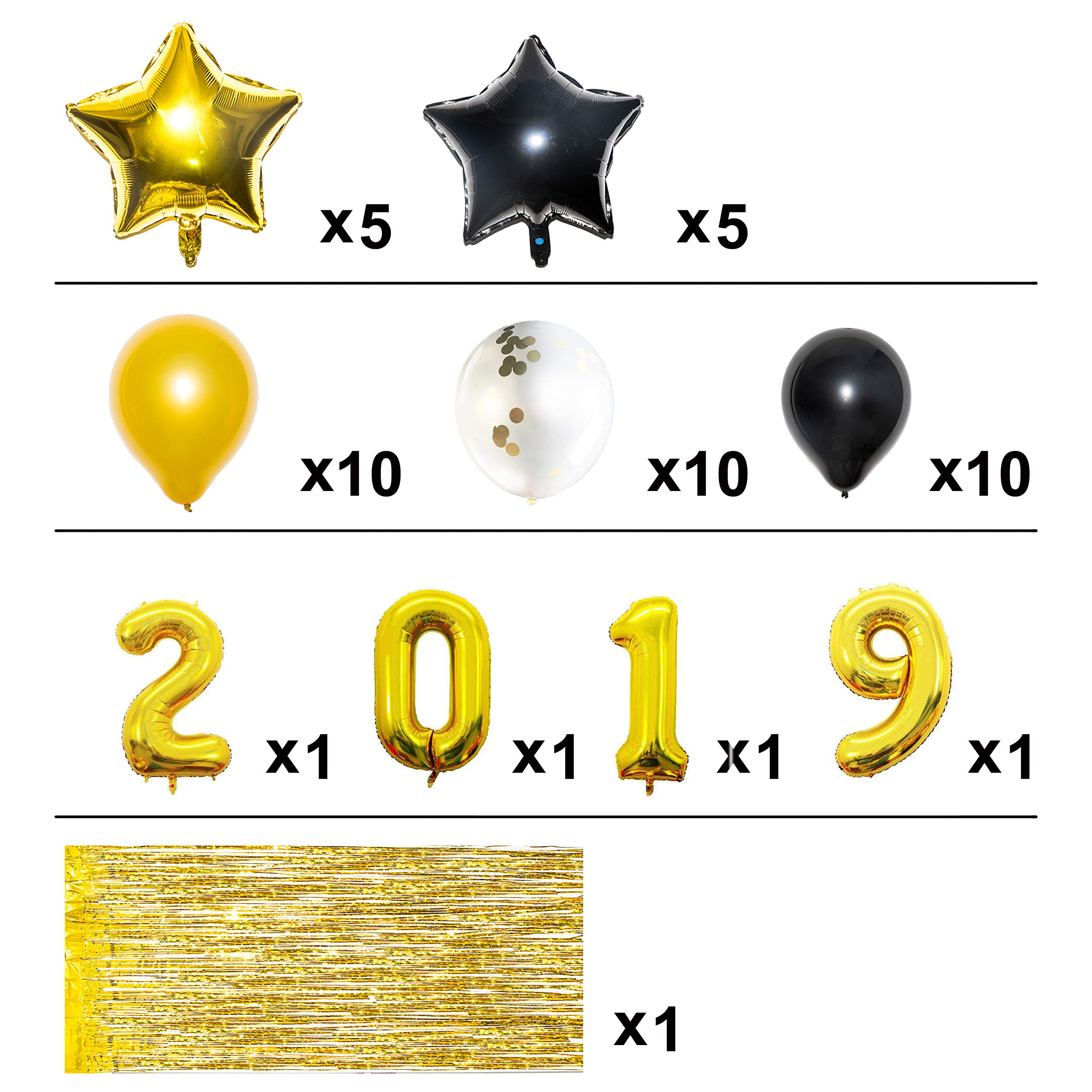 Gold 2019 Graduation Party Balloons Decorations with 10ft Metallic Gold Foil Fringe Curtain Bundle, Pack of 45, Graduation Party Supplies, Large Size, Latex Balloons, Star Balloons, Confetti Balloons by Youngever (Image #4)