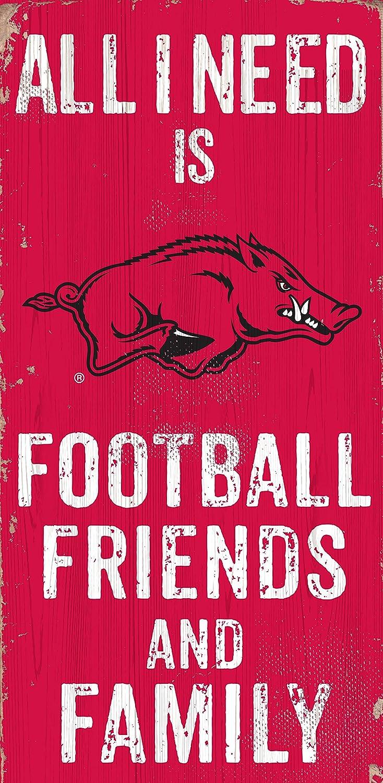 NCAA Arkansas Razorbacks 6 x 12 All I Need is Football and Family Wood Sign Friends