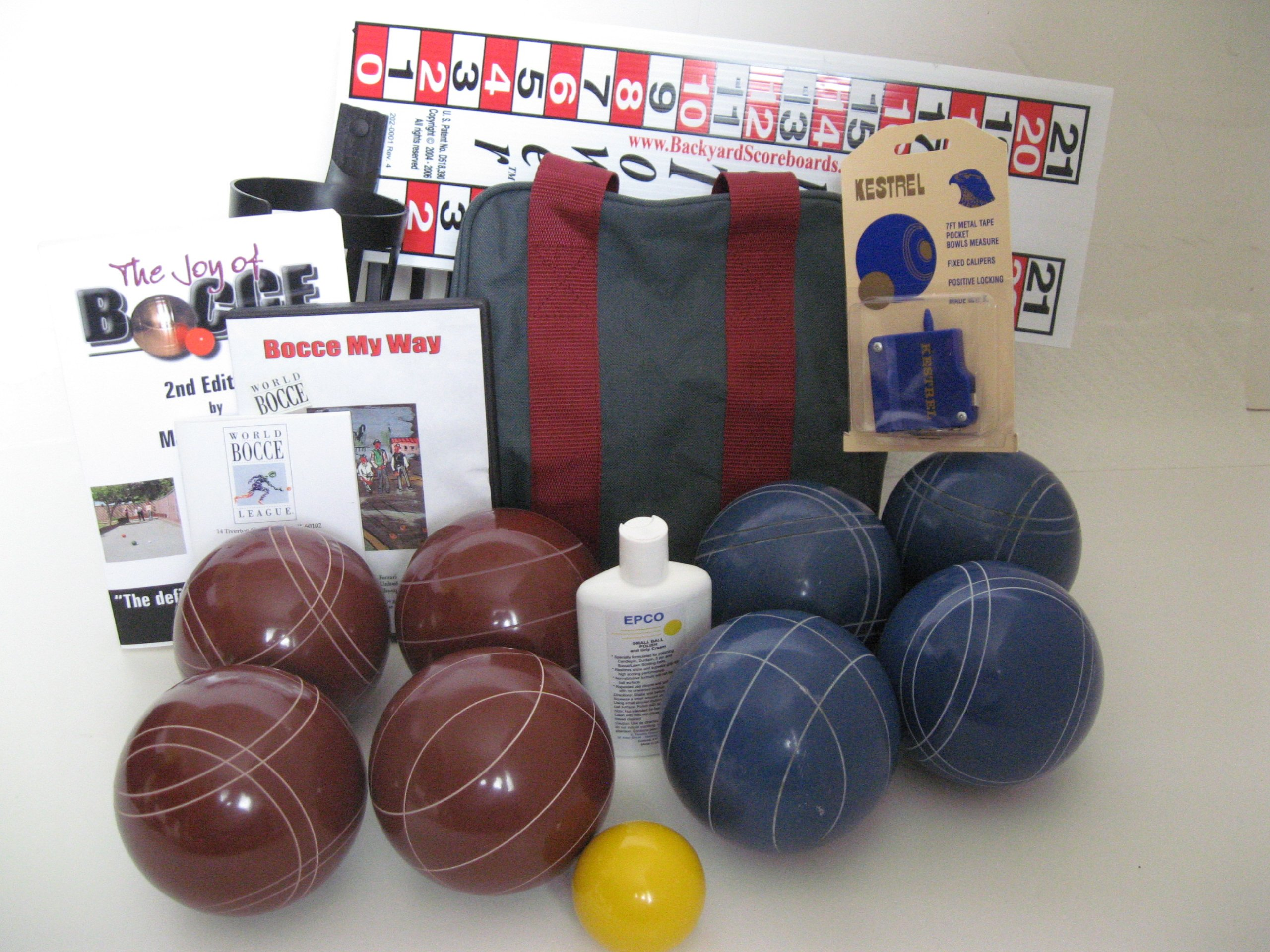Everything Bocce Package - 110mm Epco Red and Blue Balls, Score Tower, High Q...