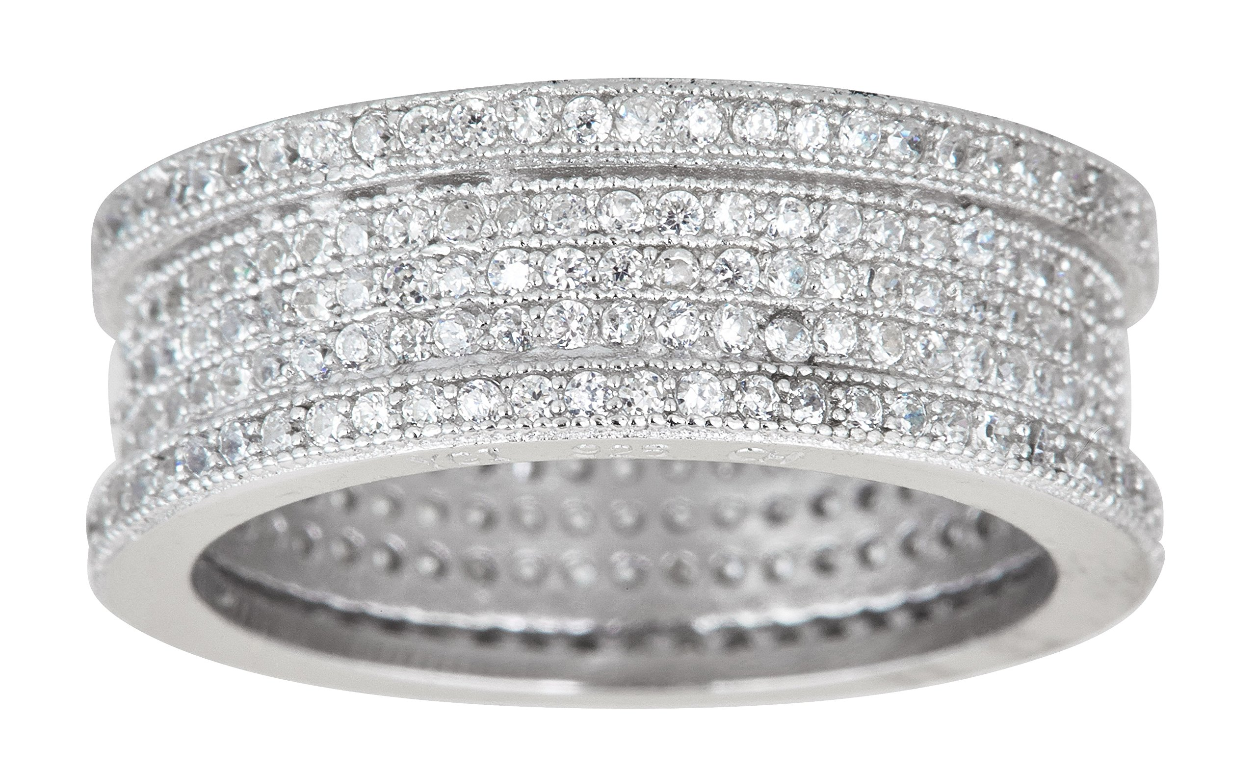 Sterling Silver Cubic Zirconia 5 Row Micropave Eternity Band Ring