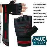 Xtrim Unisex Macho Leather Gym Workout Wrist Wrap Gloves