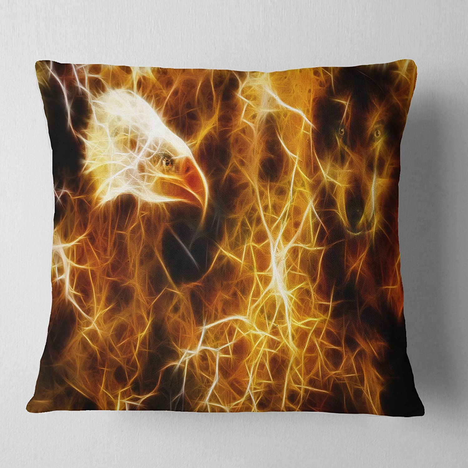 Designart CU13299-26-26 Wolf and Eagle Collage' Abstract Cushion Cover for Living Room, Sofa Throw Pillow 26 in. x 26 in. in, Insert Printed On Both Side